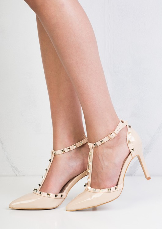 Patent Studded T-Bar Strappy Court Heels Beige