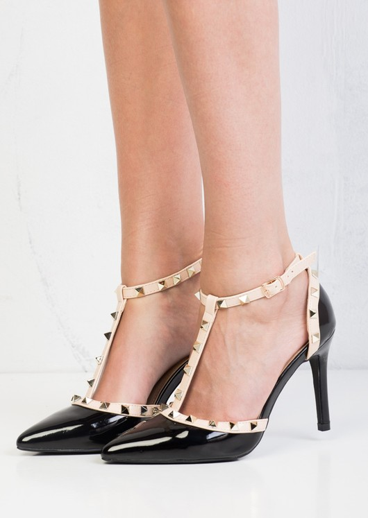 Patent Studded T-Bar Strappy Court Heels Black