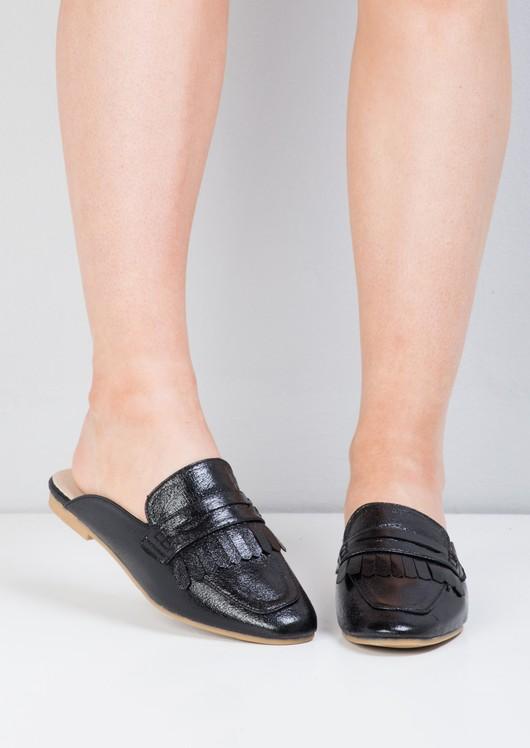 Patent Tassel Slip On Backless Loafers Black
