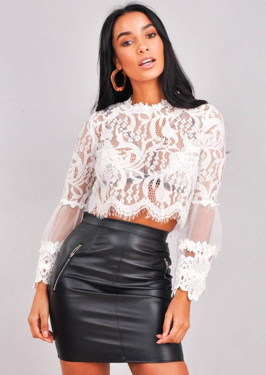 Patterned Lace Flute Sleeve Crop Top White