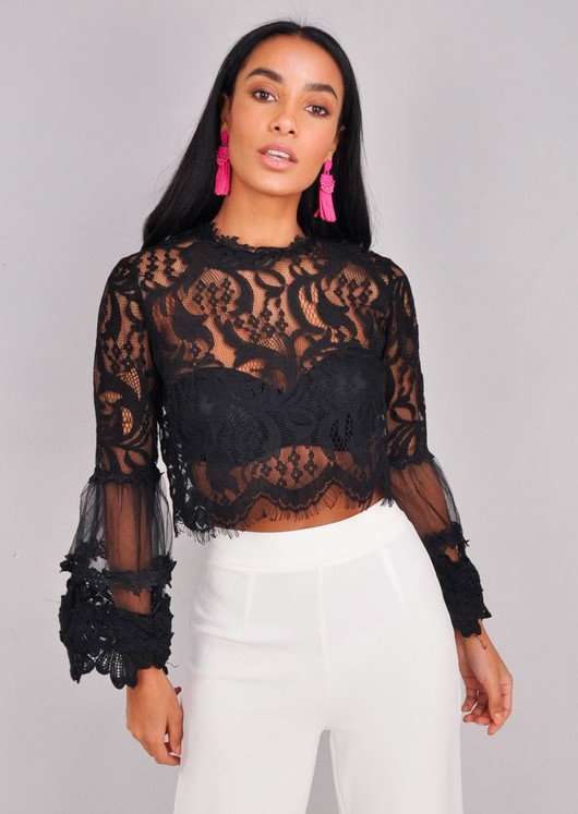 Patterned Lace Flute Sleeve Crop Top Black
