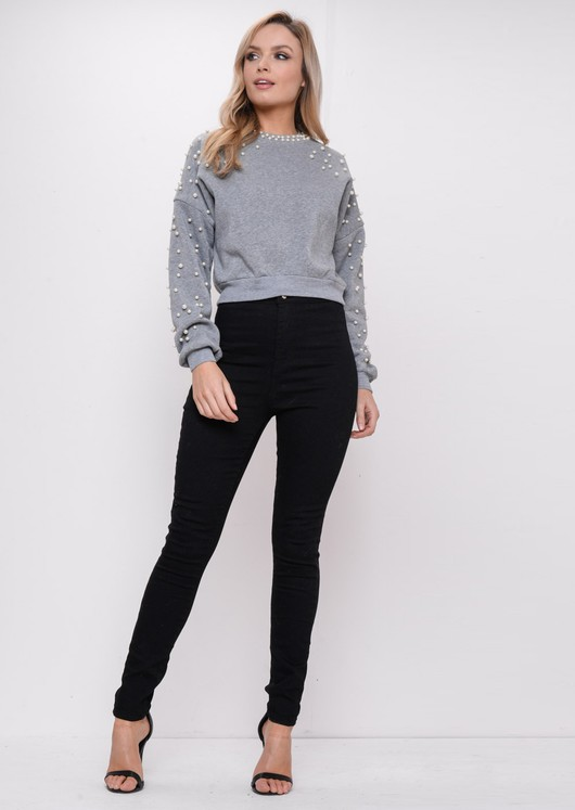 Pearl Cropped Jumper Grey