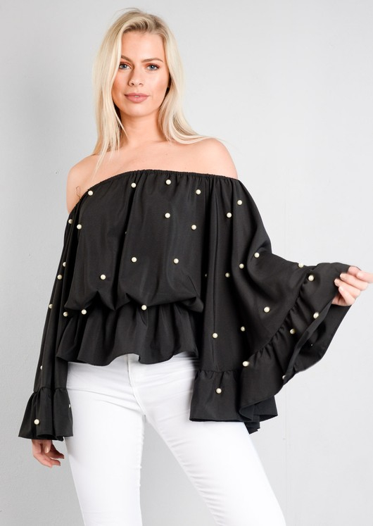 Pearl Embellished Off The Shoulder Peplum Top Black