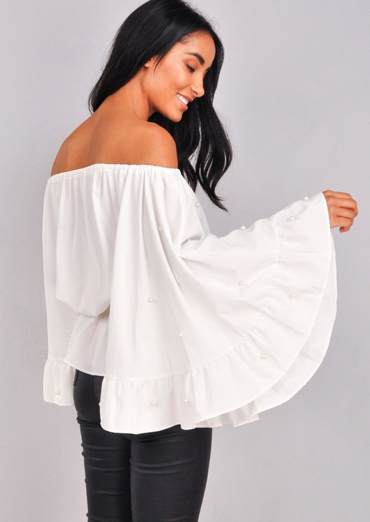 Pearl Embellished Off The Shoulder Peplum Top White