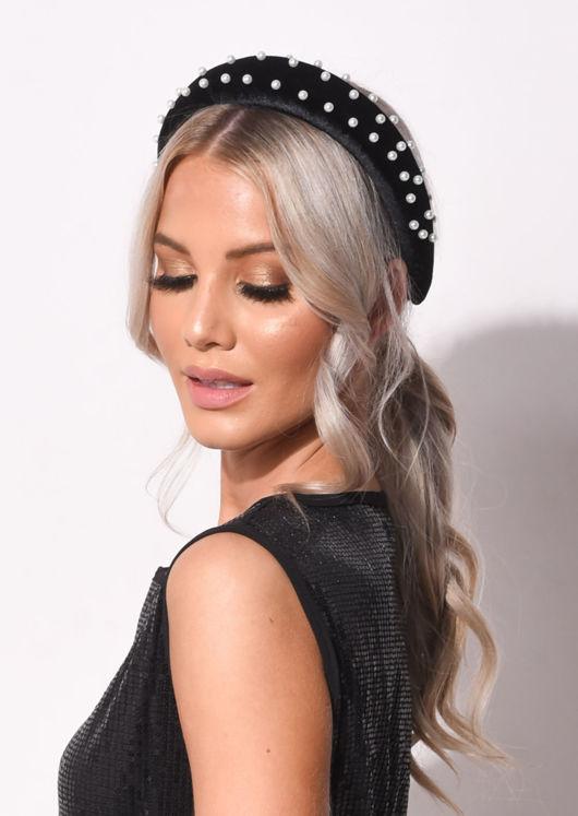 Pearl Embellished Padded Velvet Headband Black