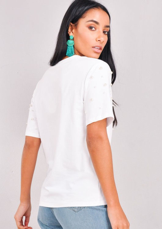 Pearl Embellished T-Shirt Top White