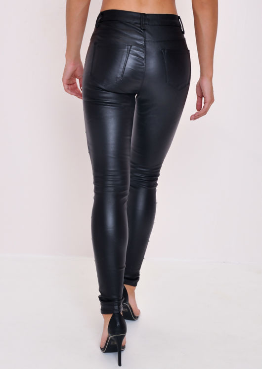 Pearl Embellished Wet Look Trousers Black
