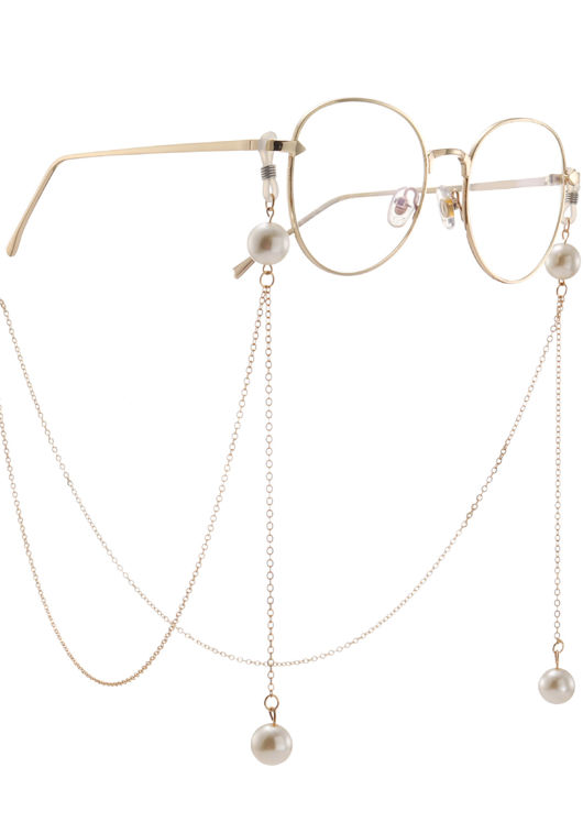 Pearl End Chained Eye Glasses Accessory Gold