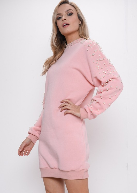 Pearl Longline Sweatshirt Jumper Dress Pink