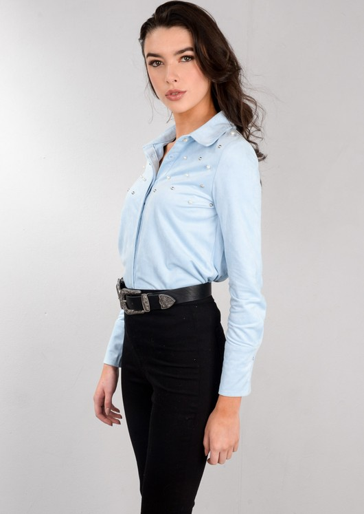 Pearl Studded Faux Suede Shirt Light Blue