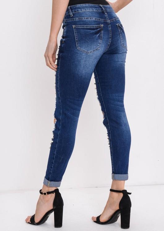 0bceff6ad2 Pearl & Studs Embellished Distressed Skinny Denim Jeans Indigo Blue