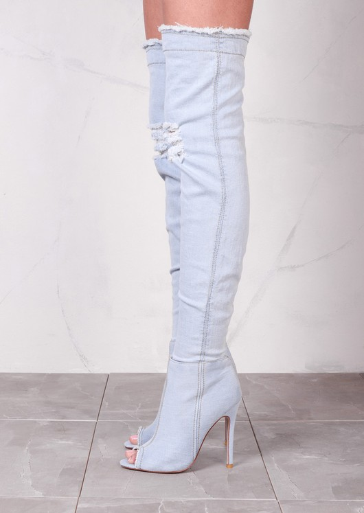 Peep Toe Over The Knee Boots Stiletto Ripped Denim Light Blue