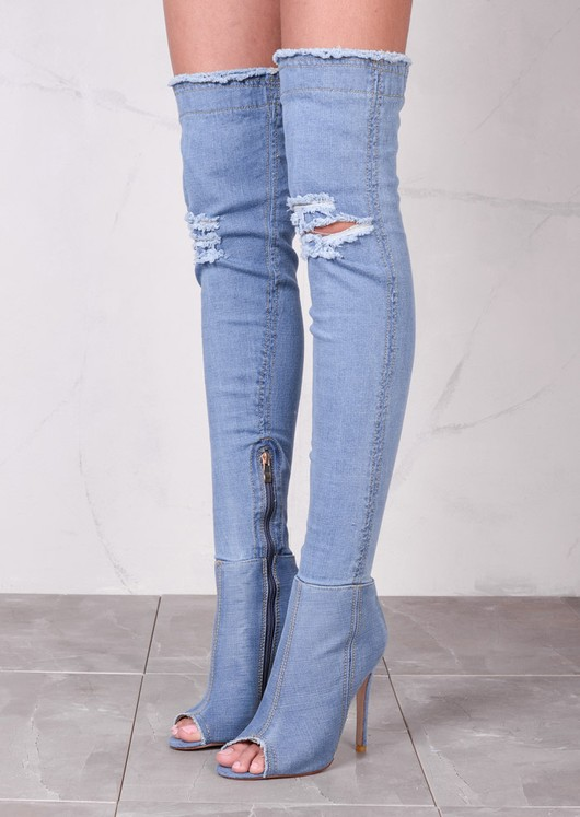 Peep Toe Over The Knee Boots Stiletto Ripped Denim Mid Blue