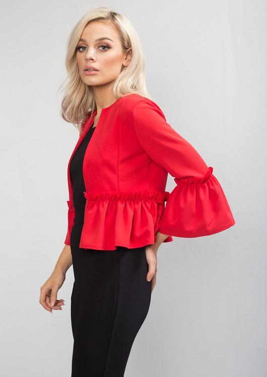 Peplum Frill Blazer Jacket Red