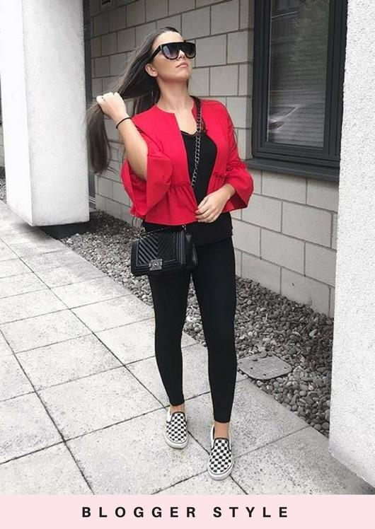 Peplum Frill Tailored Blazer Jacket Red