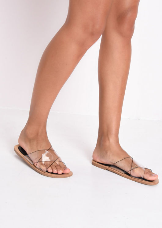 Over Flat Sandals Perspex Black Cross 7bvYf6yIg