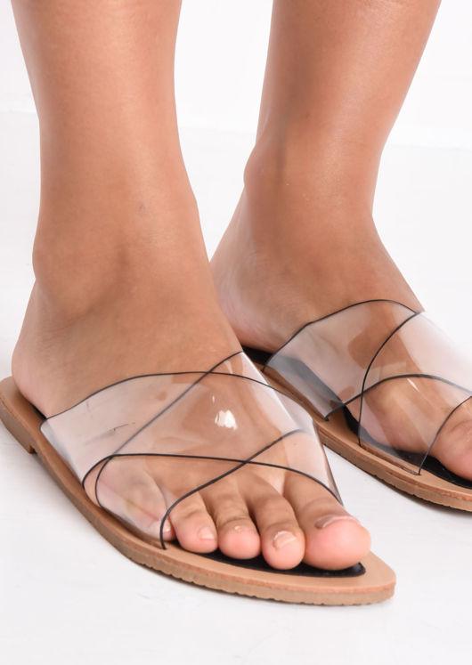 Perspex Cross Over Flat Sandals Black