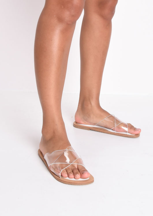 Perspex Cross Over Flat Sandals White