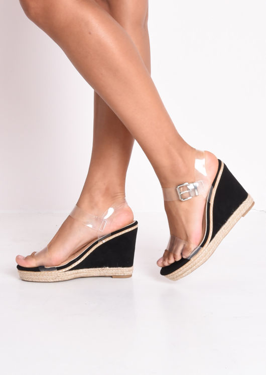 Perspex Platform Espadrille Wedge Sandals Suede Black