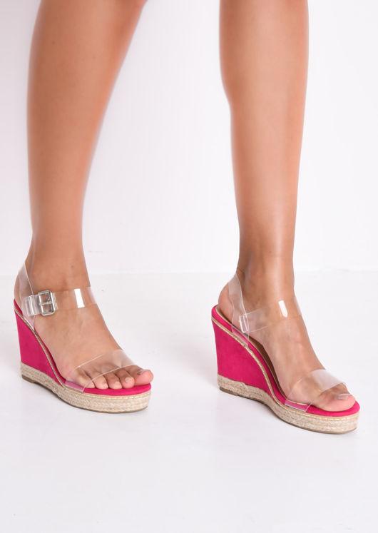 9326787761 Perspex Espadrille Wedge Sandals Suede Fuschia Pink | Lily Lulu