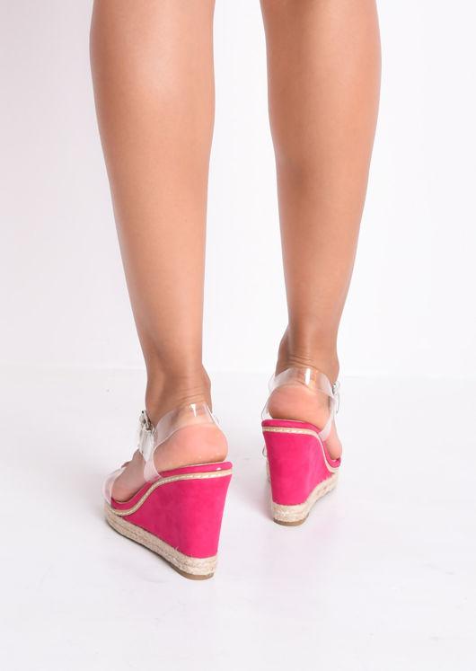 Perspex Espadrille Wedge Sandals Suede Fuschia Pink
