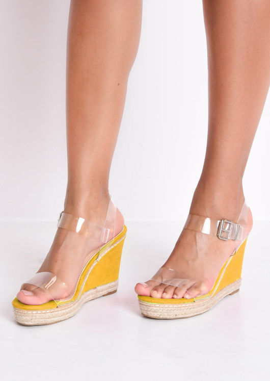 Perspex Platform Espadrille Wedge Sandals Suede Neon Yellow