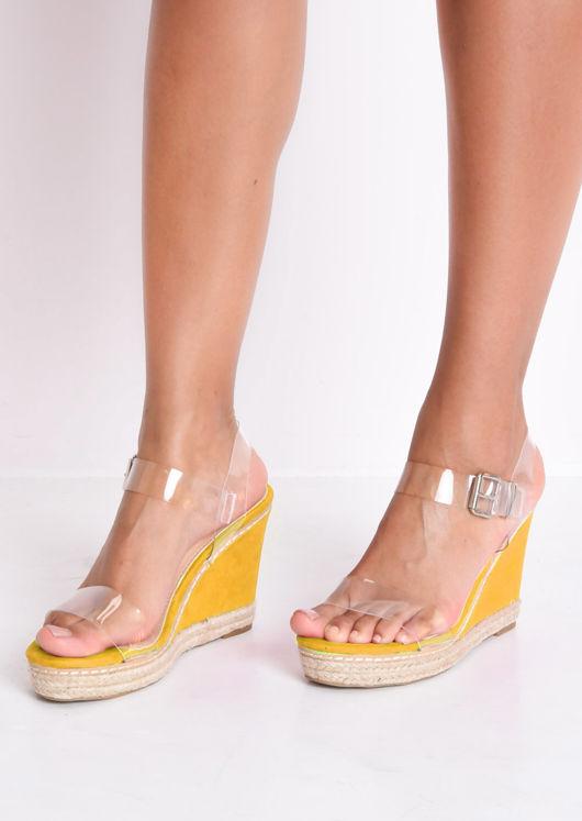 Perspex Platform Espadrille Wedge Sandals Suede Neon Yellow