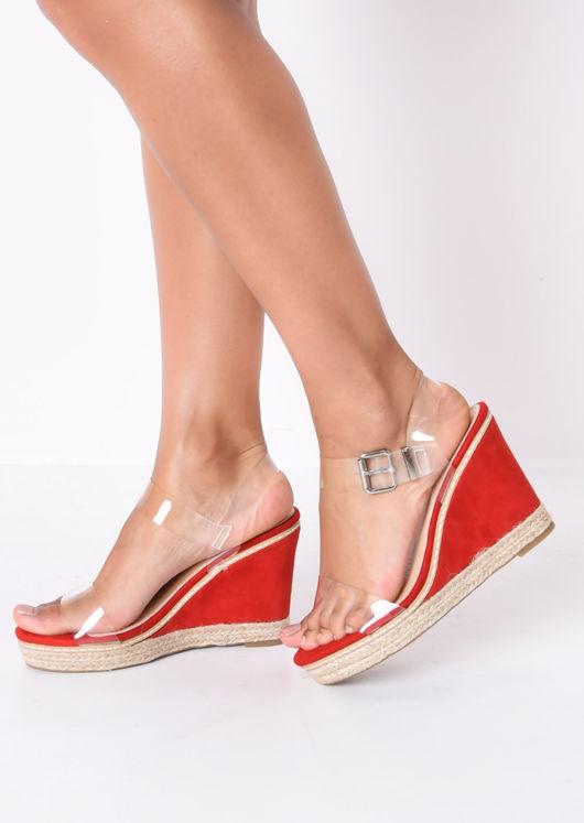 Perspex Platform Espadrille Wedge Suede Sandals Red