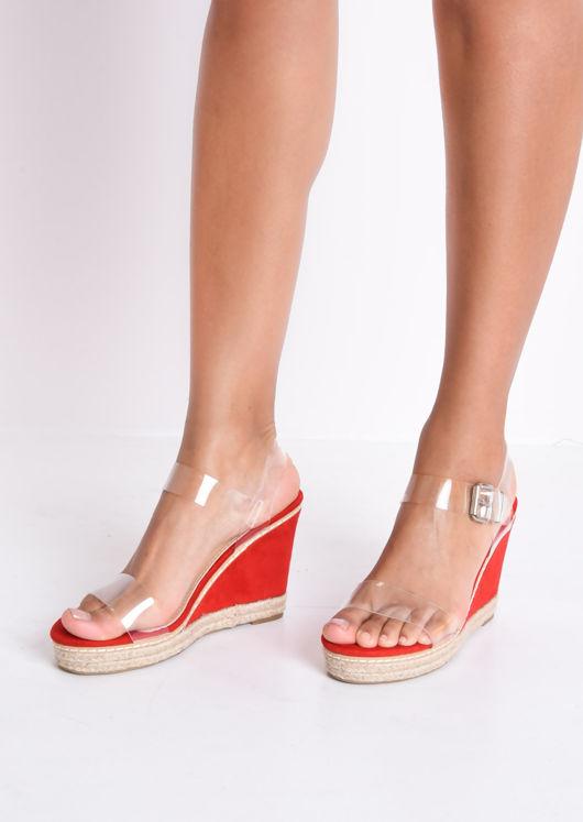 4ba1e3a7e7f Perspex Platform Espadrille Wedge Suede Sandals Red