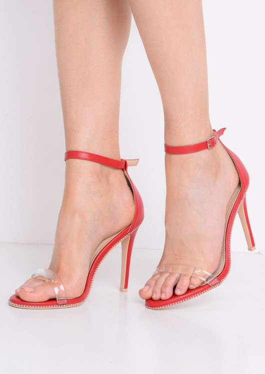 Perspex Strap Heeled Sandals Red