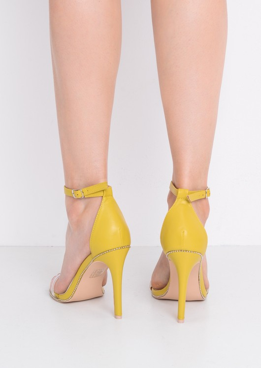 Perspex Strap Heeled Sandals Yellow