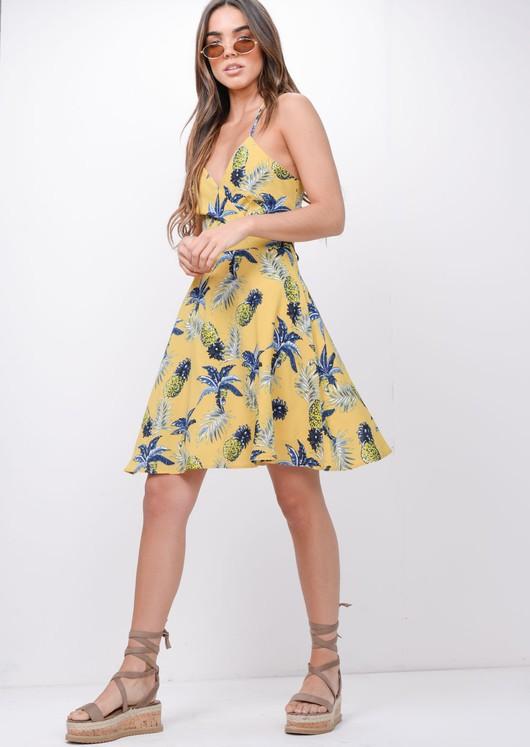 Pineapple Print Halterneck Skater Dress Yellow