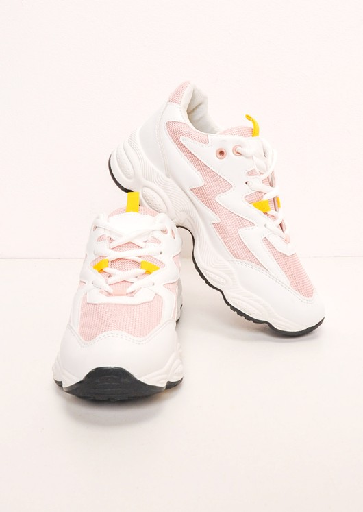 White Contrast Chunky Trainers Pink