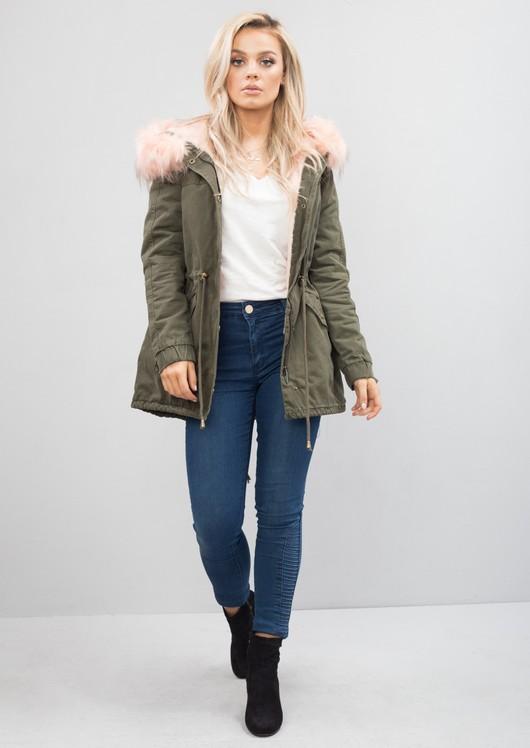 Baby Pink Faux Fur Hooded Full Fleece Parka Coat Khaki Green