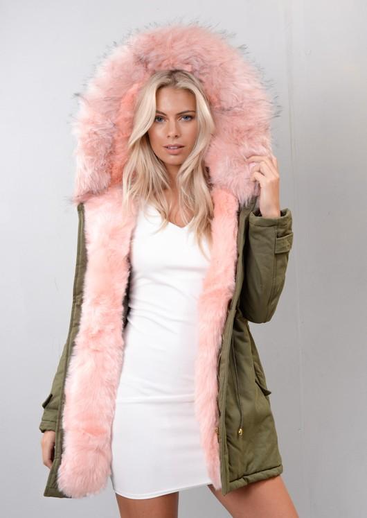 catch super cheap clear-cut texture Pink Faux Fur Hooded Parka Coat khaki Green