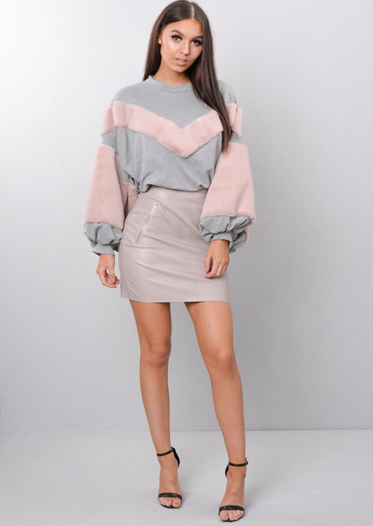 Pink Faux Fur Stripe Balloon Sleeve Sweatshirt Jumper Grey
