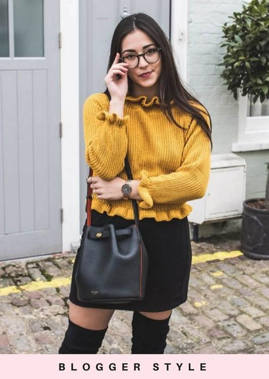 Bardot Knitted Frill Detail Jumper Mustard Yellow