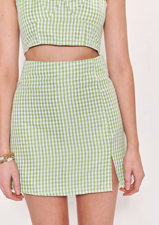 Gingham Halterneck Crop Top And Front Split Mini Skirt Co-Ord Green
