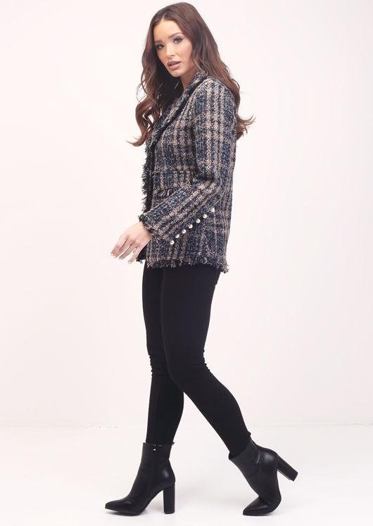 Plaid Pearled Frayed Hem Tweed Blazer Jacket Multi