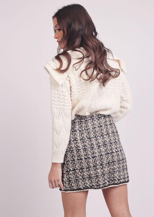 Plaid Tweed Sequin A Line Pearl Button Mini Skirt Beige