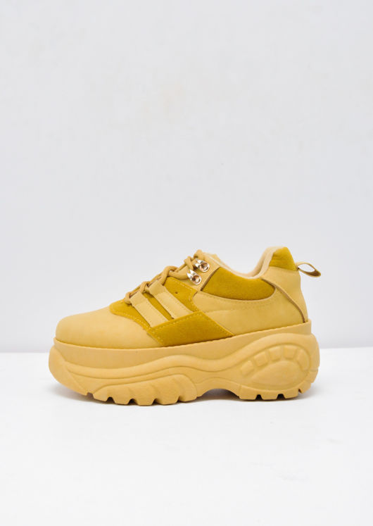 Platform Chunky Sole Trainers Mustard Yellow
