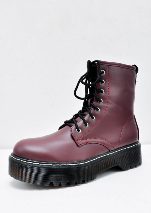 Platform Faux Leather Combat Ankle Boots Burgundy Red