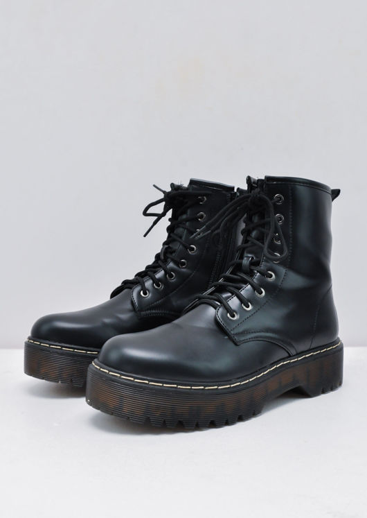 Platform Faux Leather Combat Ankle Boots Black