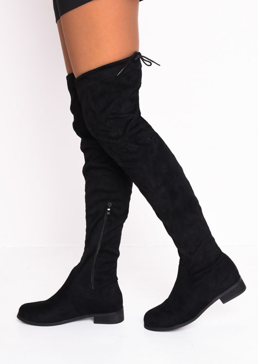Over the Knee Flat Long Boots Lace Tie Suede Black