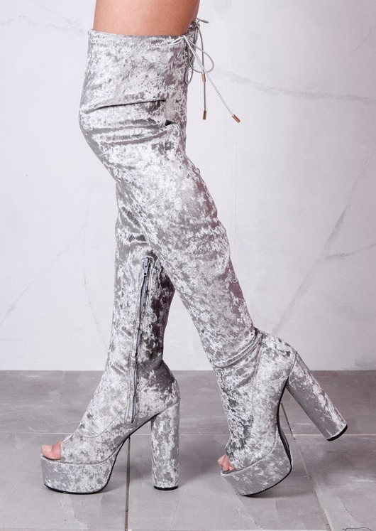 Platform Peep Toe Block Heel Crushed Velvet Over The Knee Boots Silver Grey
