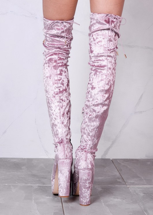 Platform Peep Toe Block Heel Crushed Velvet Over The Knee Boots Pink