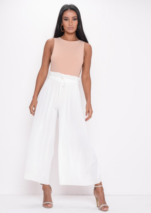 Pleated Cropped Wide Leg Culotte Trousers White