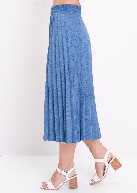 Pleated Denim Midi Skirt Dark Blue