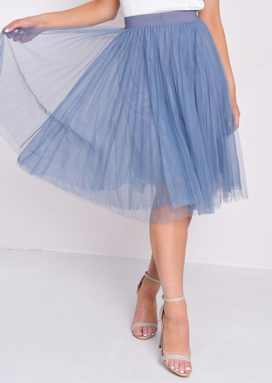 Pleated High Waisted Tulle Mesh Skirt Blue