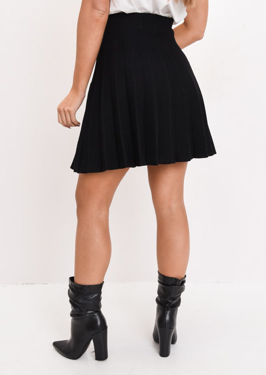 Pleated Knit Mini Skirt Black